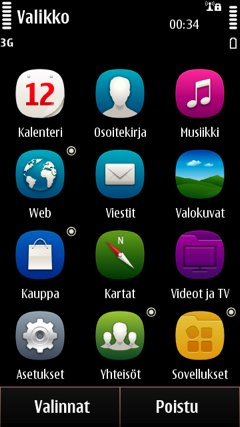 Symbian Anna has updated icons, but otherwise the applications and settings menu is still same kind of a grid menu of applications and folders than before.