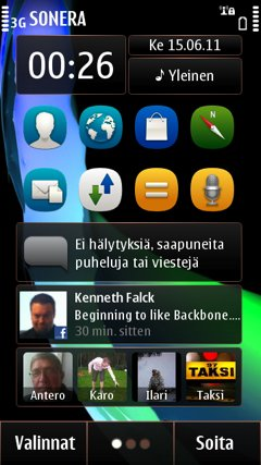 As Symbian 3, Symbian Anna still has three home screens you can customize with background images widgets, bookmarks, apps, and contacts.