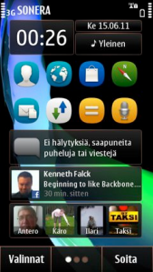 Symbian Anna has a nice start menu with three screens for widgets, applications and contacts. With the next Symbian Belle updated, you could supposedly include widgets in different sizes.