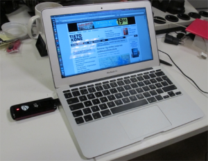 11-inch MacBook Air and ZTE's 4G modem; a quite large and power hungry USB stick.