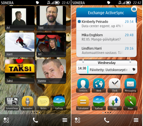 Symbian Belle allows more start screens than before. The UI with different sizes of widgets is quite familiar to Android users.
