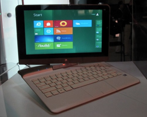 Different hybrid form factors of laptops and tablets were showcased in exhibition hall of the Build conference.