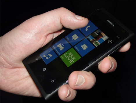 Nokia Lumia 800 is coming to the Finnish market sometime early next year. Only the black model was on show this week.