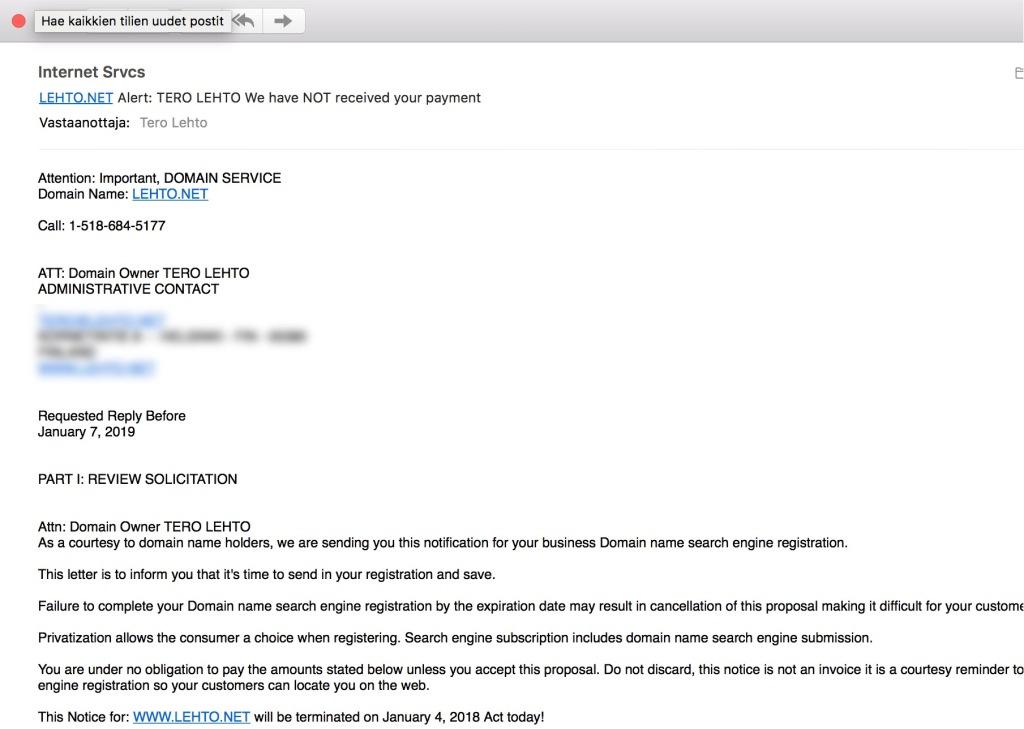Domain-huijausviesti yrittää saada minut uusimaan muka pian vanhentuvan lehto.net-domainin tilauksen.